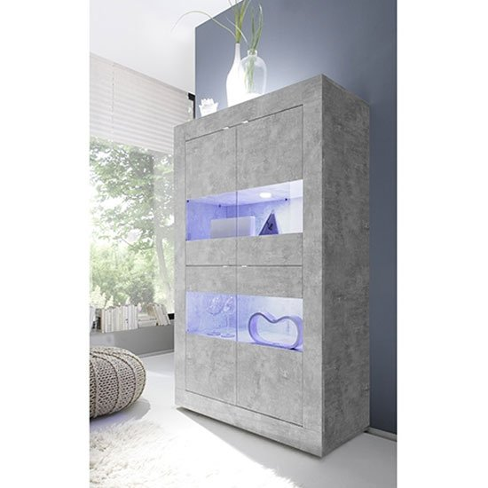 Taylor LED Wooden Display Cabinet In Concrete With 4 Doors