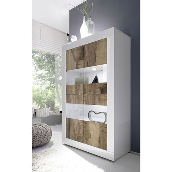 Taylor Wooden Display Cabinet In White High Gloss And Pero
