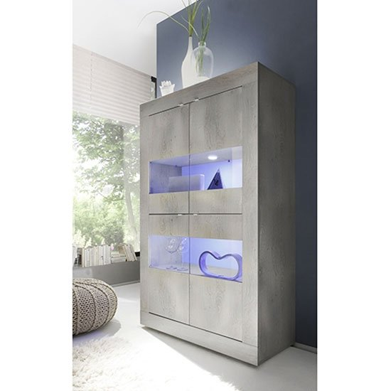 Taylor LED Wooden Display Cabinet In White Pine With 4 Doors_1