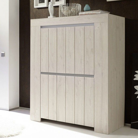 Leilani Wooden Highboard In Beige Oak