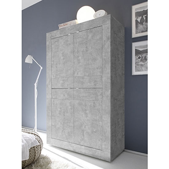 View Taylor wooden highboard in concrete with 4 doors