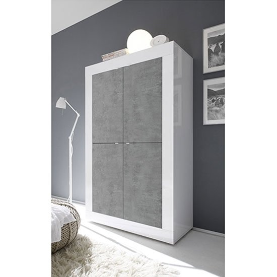 Taylor Wooden Highboard In White High Gloss And Cement Effect