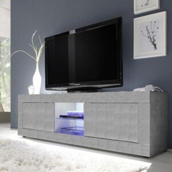 Taylor LED Wooden Large TV Stand In Concrete With 2 Doors