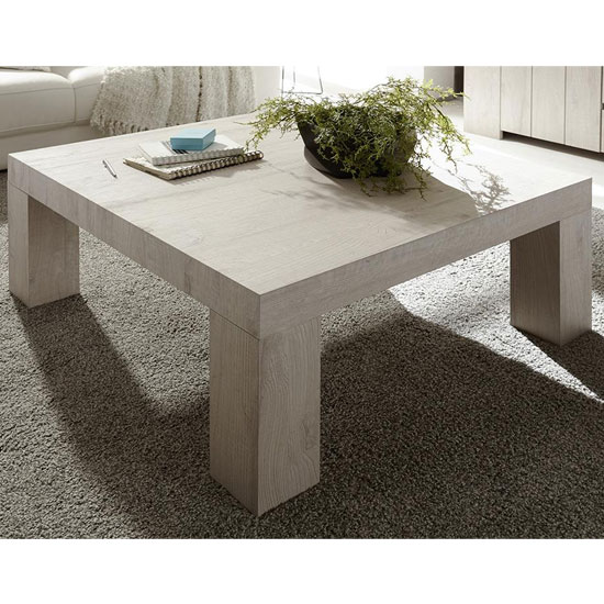 View Leilani square wooden coffee table in beige oak