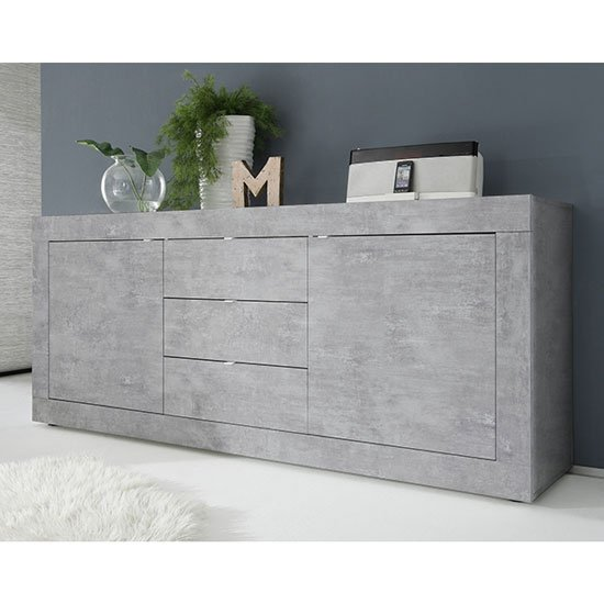 Taylor Wooden Sideboard In Concrete With 2 Doors And 3 Drawers