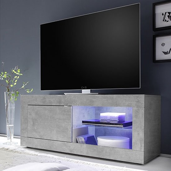 Taylor LED Wooden Small TV Stand In Concrete With 1 Door