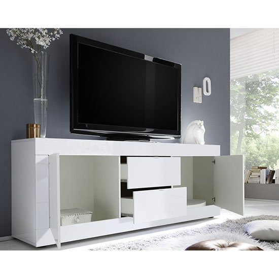 Taylor Wooden TV Stand In White High Gloss_2