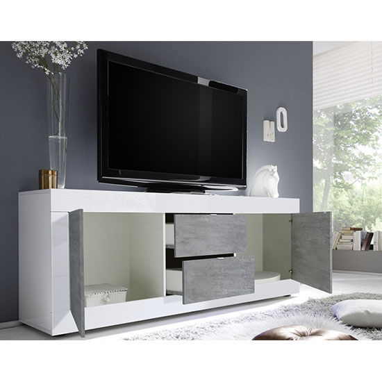 Taylor Wooden TV Stand In White High Gloss And Cement Effect_2