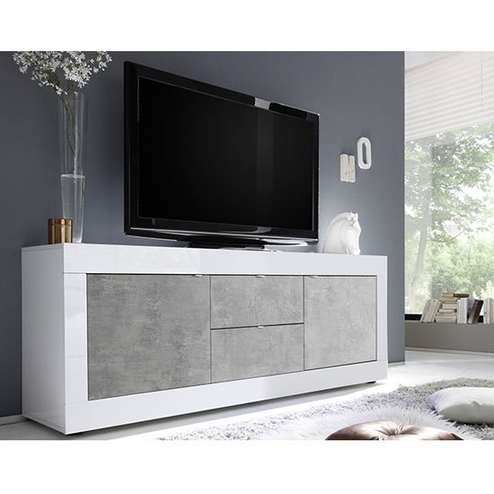 Taylor Wooden TV Stand In White High Gloss And Cement Effect_1