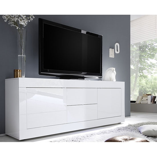 Taylor Wooden TV Stand In White High Gloss