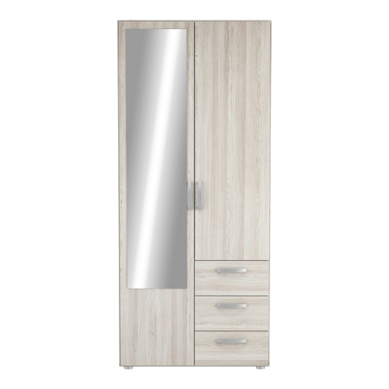 Leisa 2 Doors Wardrobe In Shannon Oak With Three Drawers_2