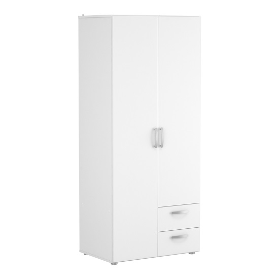 Leisa 2 Doors Wardrobe In Matt White With Three Drawers