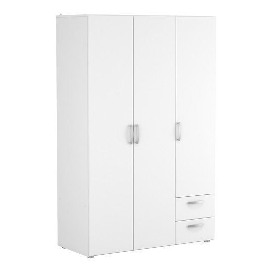 Leisa Wide Wardrobe In Matt White With Three Doors