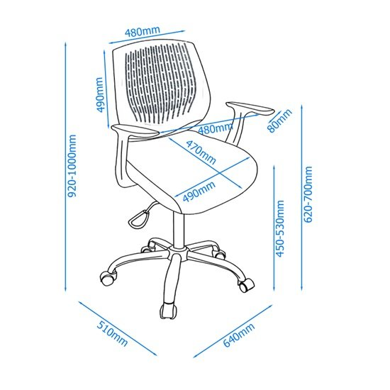 Lemaire Office Chair In Black With Grey Plastic Backrest_2