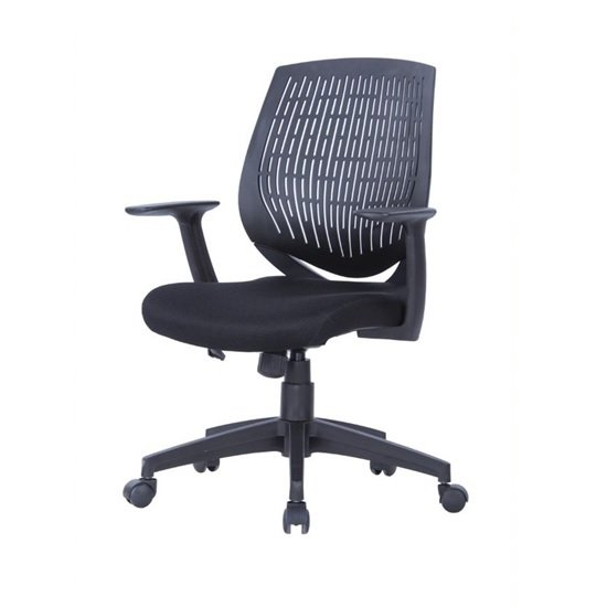 Lemaire Office Chair In Black Finish With Plastic Backrest