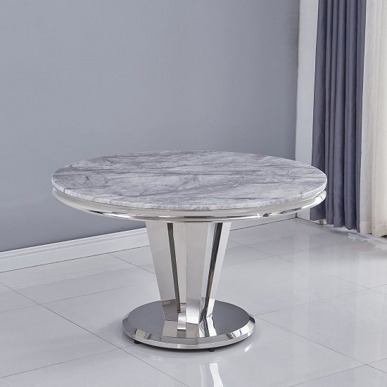 Leming Round Grey Marble Dining Table With 4 Liyam Grey Chairs_2
