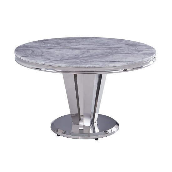 Leming Round Grey Marble Dining Table With 4 Liyam Grey Chairs_3