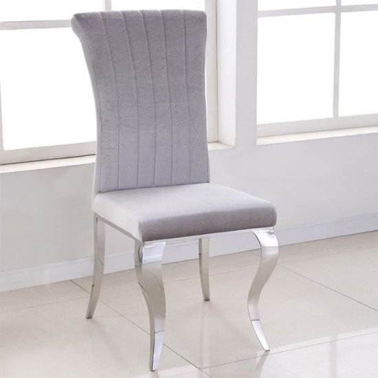 Leming Round Grey Marble Dining Table With 4 Liyam Grey Chairs_4
