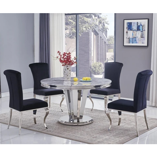 Leming Round Grey Marble Dining Table With 6 Liyam Black Chairs