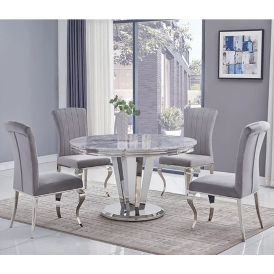 Photo of Leming round grey marble dining table with 6 liyam grey chairs