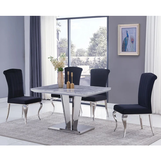 Product photograph showing Leming Small Grey Marble Dining Table With 4 Liyam Black Chairs