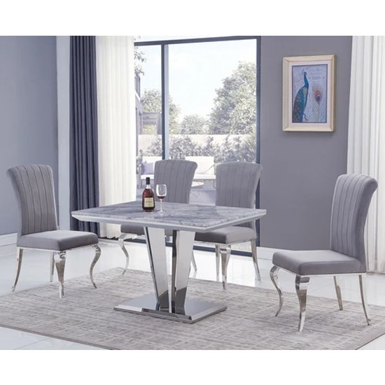 Leming Small Grey Marble Dining Table With 4 Liyam Grey Chairs