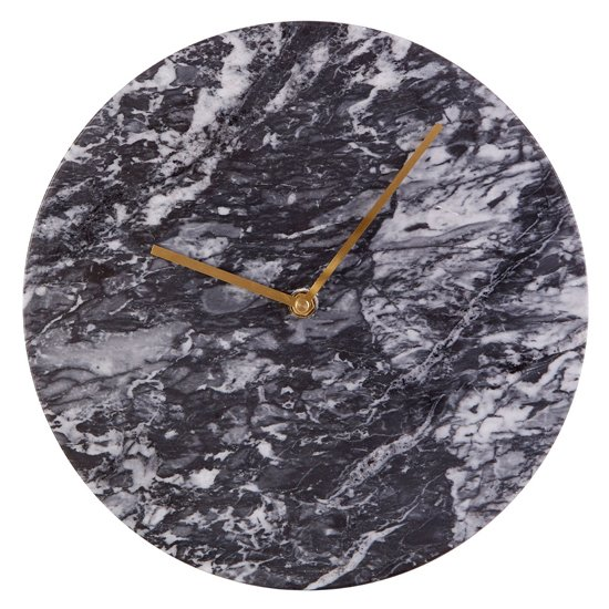 Lemonta Round Marble Wall Clock In Black