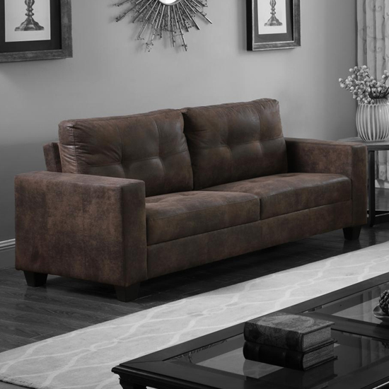 Lena Antique Fabric 3 Seater Sofa In, Brown Material Sofa Bed