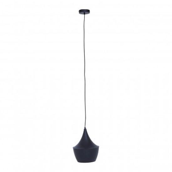 Product photograph showing Lena Tent Shaped Pendant Light In Matte Black