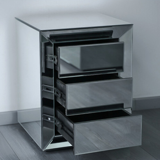 Lenna Mirrored Wooden Bedside Cabinet In Grey_2