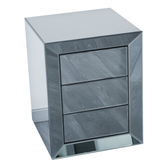 Lenna Mirrored Wooden Bedside Cabinet In Grey_3