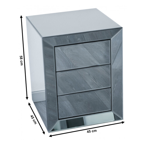 Lenna Mirrored Wooden Bedside Cabinet In Grey_4