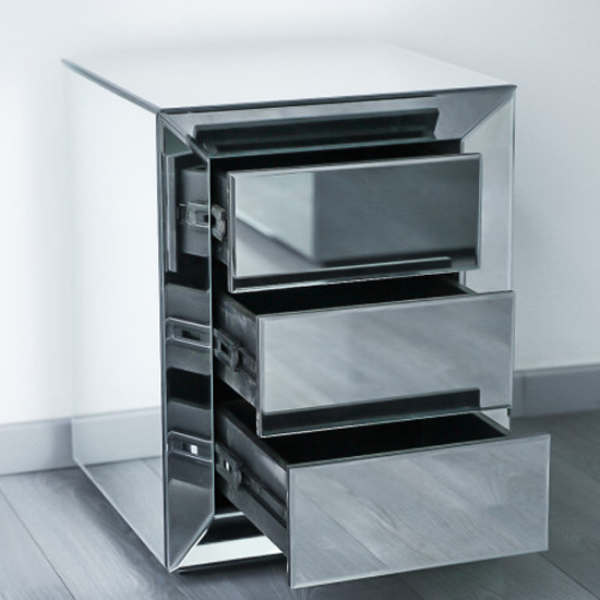 Lenna Mirrored Wooden Bedside Cabinet In Silver_2