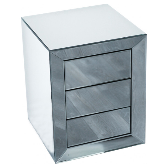 Lenna Mirrored Wooden Bedside Cabinet In Silver_3