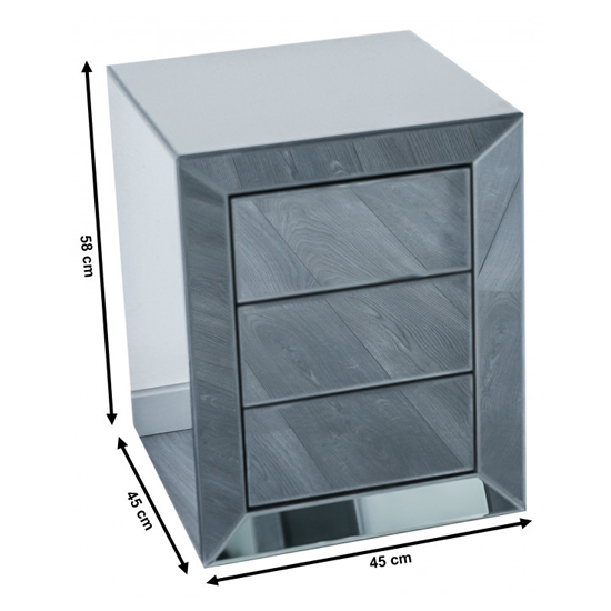 Lenna Mirrored Wooden Bedside Cabinet In Silver_4