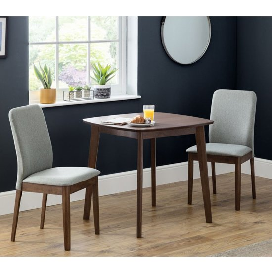 Lennox Dining Set In Walnut With 2 Berkeley Grey Fabric Chairs_1