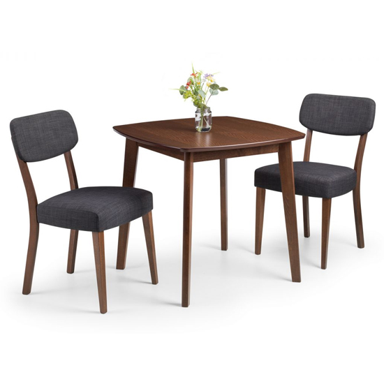 Lennox Dining Set In Walnut With 2 Farringdon Grey Linen Chairs_2