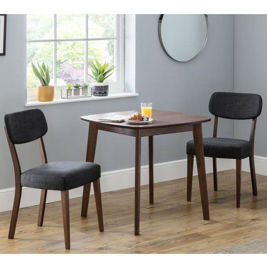 Lennox Dining Set In Walnut With 2 Farringdon Grey Linen Chairs_1