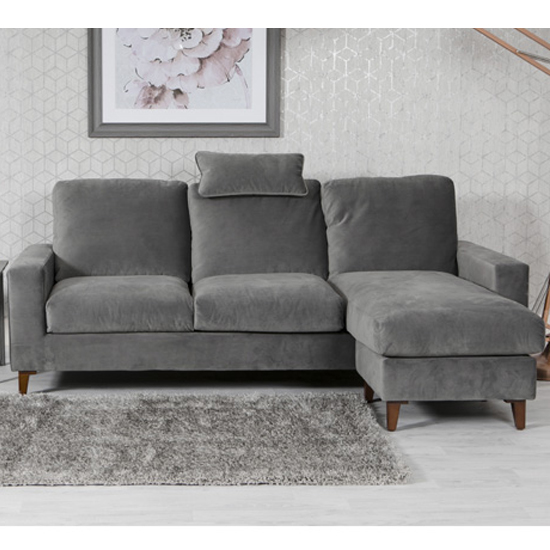 Lenny Velvet Upholstered Chaise Sofa Bed In Grey