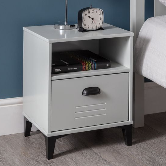 Lenoir Wooden Bedside Cabinet In Grey With 1 Drawer