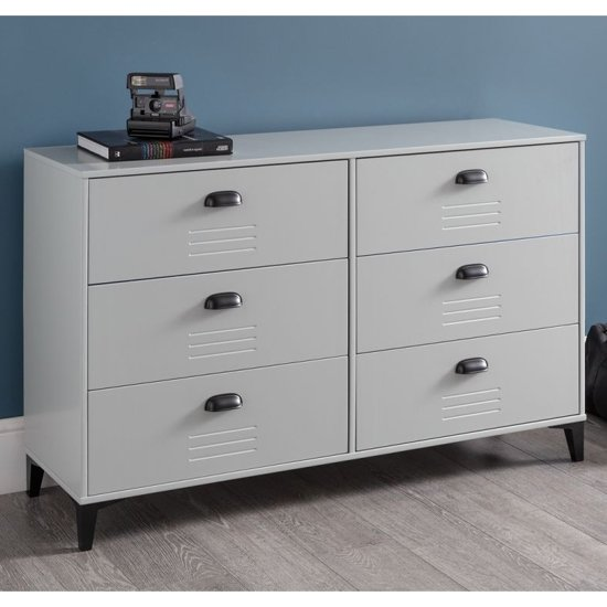 View Lenoir wooden chest of drawers in grey with 6 drawers