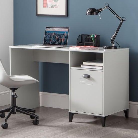 View Lenoir wooden computer desk in grey with 1 door