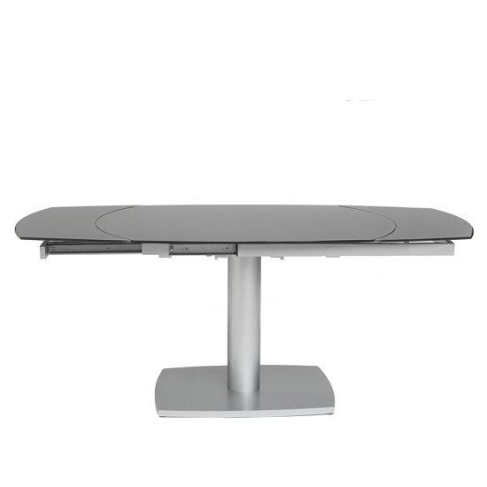 Lento Extendable Glass Dining Table Oval In Grey With Metal Base_1