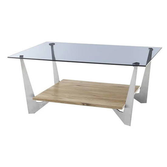 Leon Grey Glass Coffee Table With Natural Oak Wooden Base