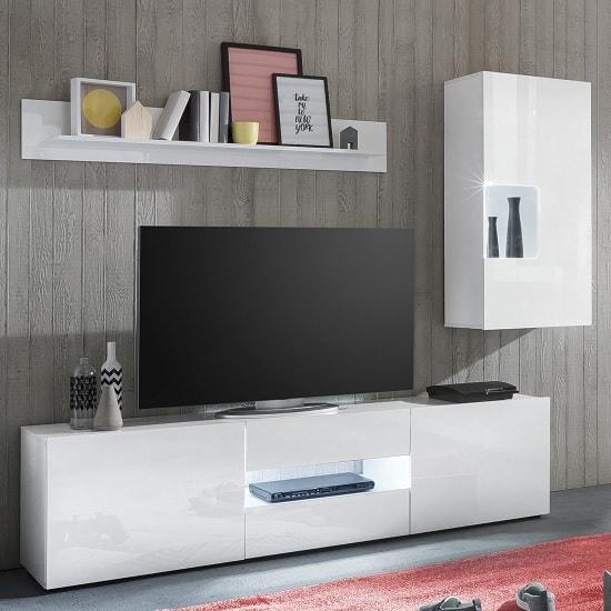 Leon White Living Room Set 1 With LED Lighting 33779
