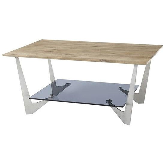 Leon Wooden Coffee Table In Natural Oak And Grey Glass Base