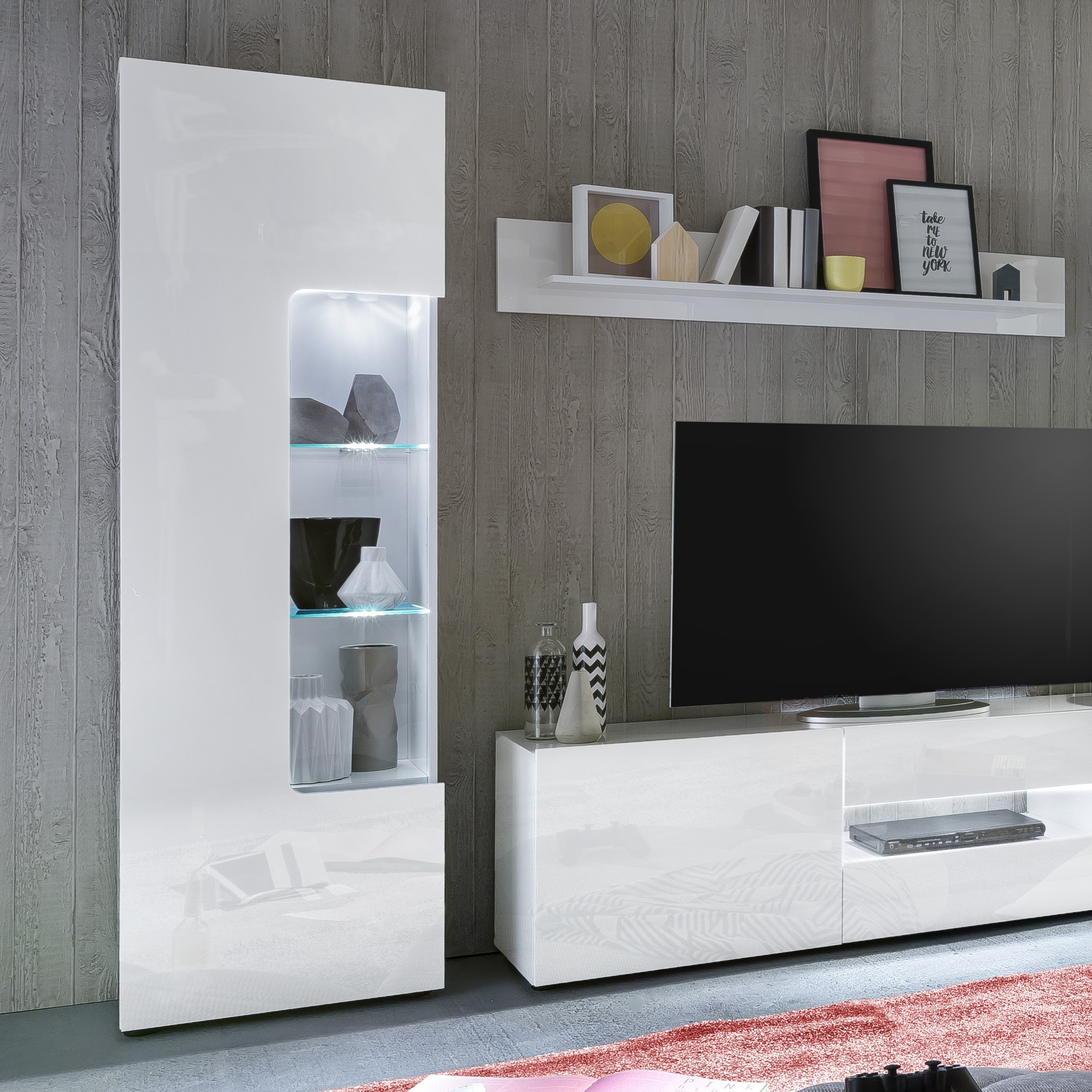 Leon Display Cabinet In White High Gloss With Led Lighting
