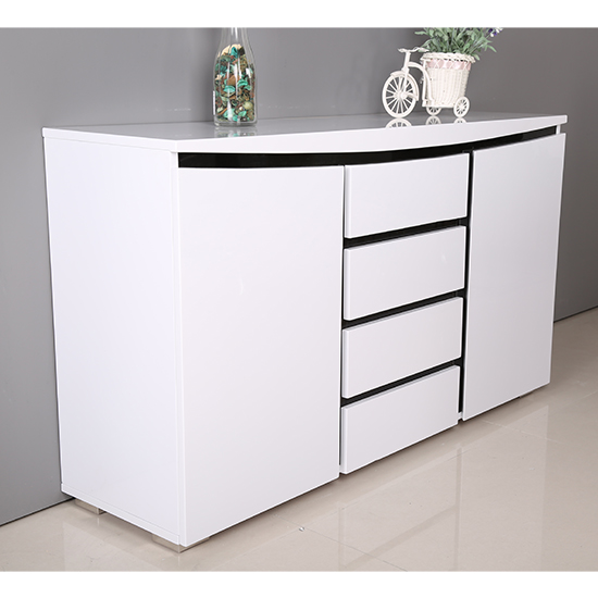 Leona Sideboard In White And Black High Gloss