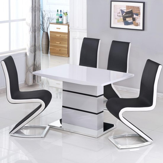 Leona Small Dining Set In White And Black With 4 Chairs