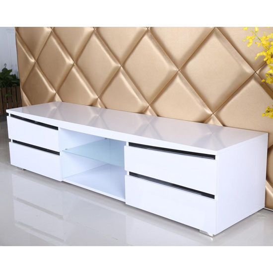 Leona Wooden TV Stand In White High Gloss And Black